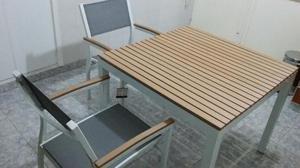 Mesa y 4 sillas de aluminio y madera NUEVOS