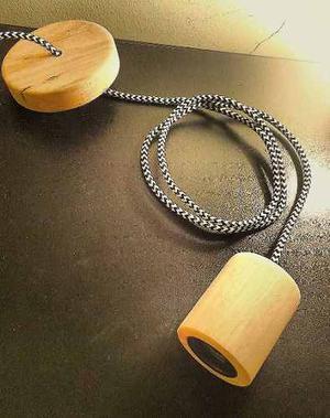 Portalámparas Con Capuchon De Madera Y Cable Textil