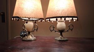 Antiguo juego de veladores en bronce y mármol