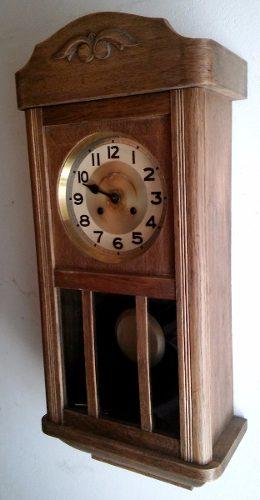 Antiguo Reloj De Pared Alemán Caja De Roble