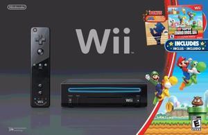 Nintendo Wii Black Original Poco Uso + Super Mario Bros