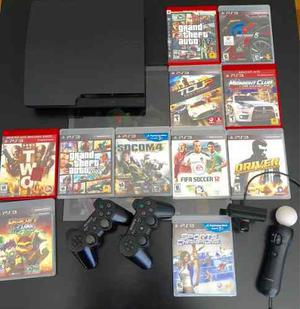 Play Station 3 Slim 160gb + Move + 11 Juegos +3 Joystick