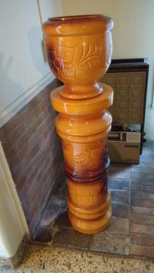 Antiguo Porta maceta de cerámica esmaltada
