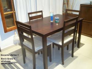 Nuevo !! ♥ Mesa y 4 sillas en guatambu !! ♥ Envio gratis