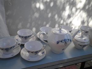 Juego de café de porcelana antigua (Baviera) p/ 6 personas.