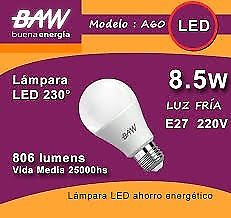 LAMPARAS LED BAW 8,5 WATTS PACK X 10 UNIDADES