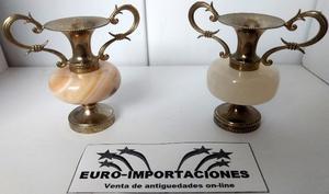 2 Antiguas ánforas porta sahumerios de bronce y onix