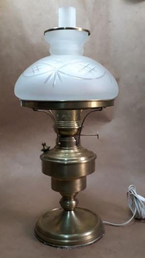 Importante Lámpara de Mesa De Bronce Con Pantalla Satinada