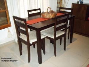 NUEVO !!! Mesa y 4 sillas en guatambu !! ♥ Envío gratis