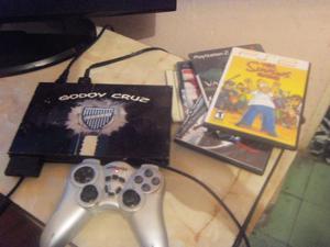 PS2, Play 2, con 1 joystick, memoria y juegos