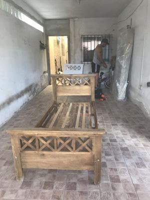 Cama de madera de pino paraiso 1 Plaza