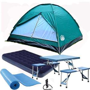 Kit Carpa 4 Pers. Colchon Mesa Plegable 4 Bancos Base Aislan