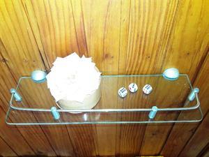 estante de vidrio con baranda de acero inixidable