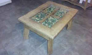 Mesa ratona madera con vidrio