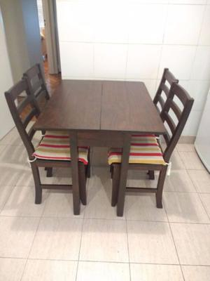 Mesa plegable 4 sillas Madera Marrón Múltiples usos