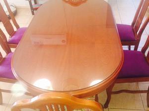 Juego de comedor mesa extensible con seis sillas