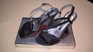 Sandalias de fiesta, negras con brillo, Nº 37