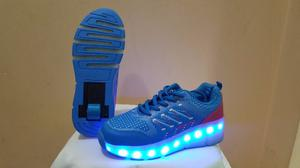 Zapatillas Con Ruedas Y Led Unixes Recargables Multicolor