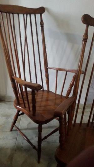 2 sillón antiguos estilo windsor madera roble macizo