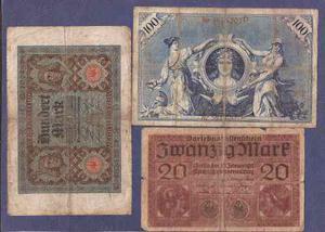 Alemania  Tres Billetes De 20 Y 100 Marcos Usados