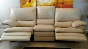 Sillon RECLINABLE, 3 cuerpos cuero ecologico, color manteca,