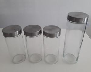 4 Frascos de Vidrio con Tapa a Rosca Multiuso. Ideales para