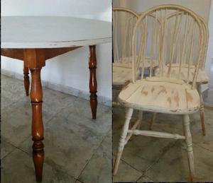 Juego comedor windsor mesa1,20 diám y 4 sillas vintage