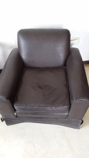 Juego de sillones marrón oscuro, cuero Ecológico