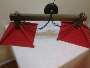 Venta de Lámpara de techo, dos luces, en madera y tela