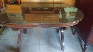 Antigua mesa ovalada extensible de cedro