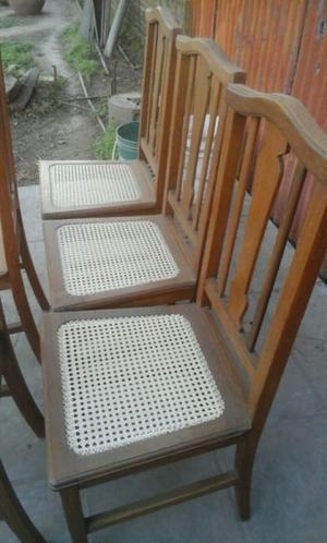 Juego de 6 sillas de roble con esterilla antiguas impecables