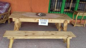 Mesa de quincho pino estilo campo con bancos
