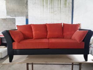 Sillon Sofa Living 3 Cuerpos Tapizado Patas Madera Moderno