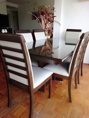 Hermosa mesa comedor 160 x 90, + 6 sillas + vidrio