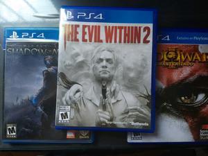 Juegos PS4 ' Gow, shadows of Mordor, the evil whitin 2