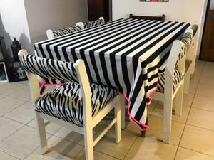 COMBO! Mesa de comedor, 6 sillas a restaurar, mesa puente,