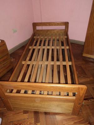 Cama con carrito de madera roble macizo