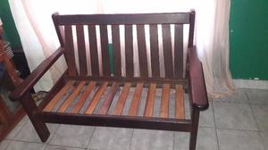 Juego de sillones con mesa de madera algarrobo