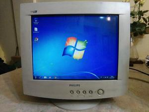 Monitor Philips Modelo 105 S6 De 15 Pulgadas Funcionando.