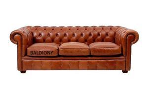 Sillon Sofa Chester De 3 Cuerpos Cuero Quebrado 100% Cuero