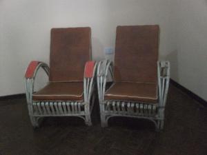juego de sillones de mimbre antiguo. excelentes