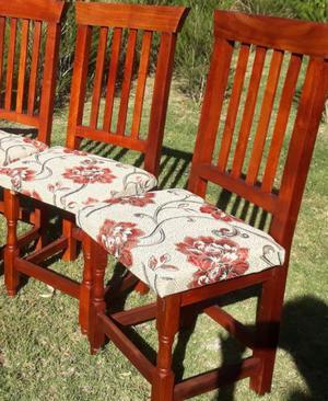 sillas de algarrobo tapizada en gobelino
