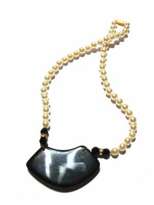 Collar De Perlas Con Brillantes Y Piedra Natural Bijouterie