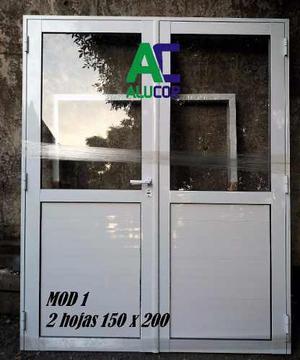 Puerta Aluminio Doble 150x Vidrio Entero