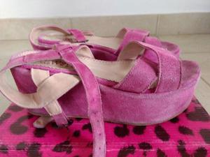 Sandalias de gamuza rosas