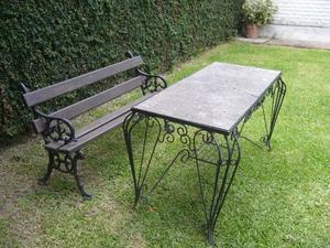 Banco de fundición y algarrobo + mesa hierro forjado con