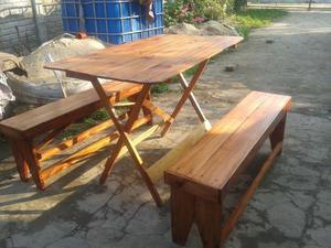 Combo mesa plegable grande + 2 bancos
