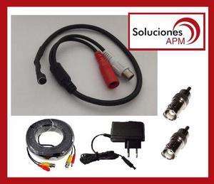 Kit Microfono Cctv + Fuente + Cable 20m + 2 Fichas Bnc A Rca
