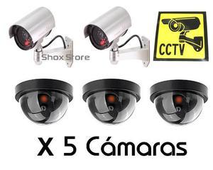 Sistema De Vigilancia X 5 Camaras De Seguridad Falsa + Pilas