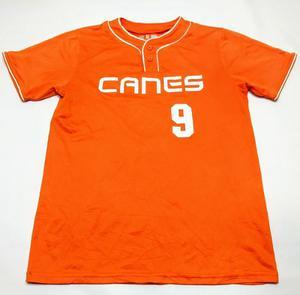 Remera De Baseball Canes #9 Talle M Naranja Y Blanca